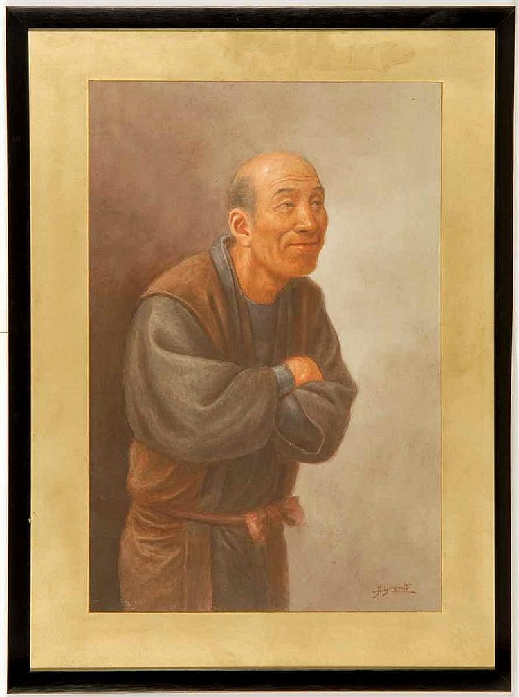 WATERCOLOR IN WESTERN STYLE By Hosui Yamamoto (1850-1906). Depicting a smiling man with folded arms. Signed lower right. 18