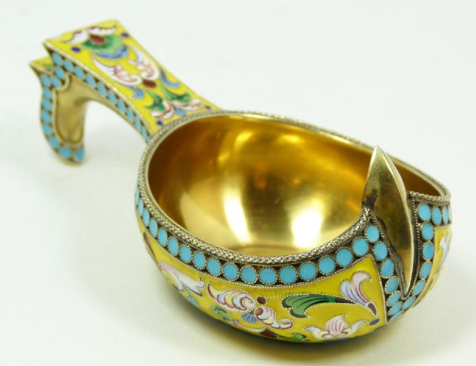 A RUSSIAN SILVER ENAMELED KOVSH