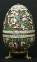RUSSIAN SILVER ENAMELED EGG RUCKERT