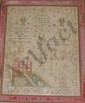 Victorian Needlework Sampler w/Pink Velvet Frame