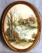 L3 VINTAGE FRAMED WATERCOLOR PRINT SWAN AND STONE HOME LAKE LANDSCAPE