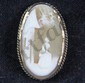 L14 ANTIQUE GEORGIAN EARLY VICTORIAN MOURNING CAMEO BROOCH GOLD SETTING