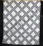 L10P ANTIQUE TRIPLE IRISH CHAIN QUILT C.1910-1930 86 X 72 BLUE WHITE POLKA DOTS