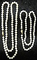 Two strands of pearls, , Round cultured pearls, one approximately 5.7mm, other strand approximately 6.7mm.