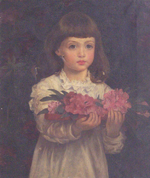 ANNA LEA MERRIT (American 1844-1930) YOUNG GIRL WITH FLOWER signed, oil on canvas, unframe 20 x 24 in