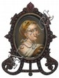 Bohemian garnet framed porcelain miniature portrait, , Featuring the portrait of a young lady, peering over her shoulder, wearing pearl