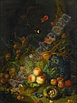 FOLLOWER OF RACHEL RUYSCH, (DUTCH 1664-1750), STILL LIFE WITH APPLES, PEARS, GRAPES, CORN, POMEGRANATES, A BIRD'S NEST WITH EGGS, BUTT, Rachel Ruysch, Click for value