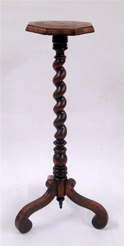 William and Mary style oak and marquetry inlaid candlestand, , The floral marquetry inlaid octagonal top above twisted column, raised o