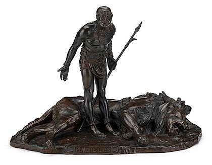 Jean-Léon Gérôme (French, 1824-1904), plaudite cives, early 20th century, Bronze, brown patina, depicting a triumphant warrior, with a
