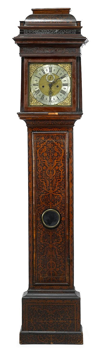 William and Mary seaweed marquetry inlaid tall case clock, the dial signed claudius du chesne, londini, The silvered chapter ring with