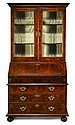 Queen Anne featherbanded burl walnut secretaire bookcase, , In two sections, the upper section with ogee molded cornice over twin glaze