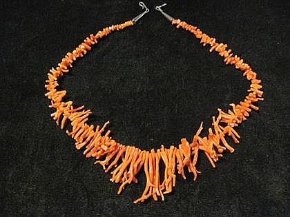 Red branch coral necklace, ,