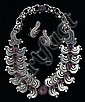 Sterling silver and amethyst earrings and necklace set, hector aguilar, Heavy link sterling silver link necklace, accented by petite ca
