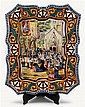 Large Quimper faience wall plaque, early 20th century, Shaped rectangular form painted to show a processional scene in the foreground o