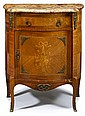Transitional style kingwood and marquetry inlaid side cabinet, 19th century, The serpenting breche d'alep marble top with molded edge