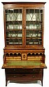 George III mahogany and satinwood secretary bookcase, late 18th century, In two parts: the upper section with molded lift-off cornice o