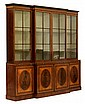 Very fine George III mahogany, satinwood, tulipwood and kingwood library bookcase, circa 1780, In eleven sections, the inlaid cavetto c