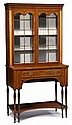 Good George III Sheraton period inlaid mahogany secretaire cabinet, late 18th century, In two sections, the upper section with gothic a