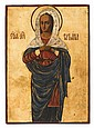 Russian icon of Saint Tatiana, 19th century, The Christian martyr in red dress and blue robes on a gilt ground, painted on wood panel.