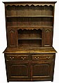 George III provincial oak dresser, , In two sections, the upper section with two shelves over two small cupboard doors flanking shelves
