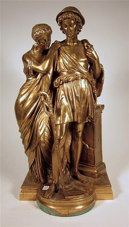 After Eugéne Antoine Aizelin (French, 1821-1902), 19th century, berger d'arcadie, Bronze, brown patina, modeled as a shepherd and maid