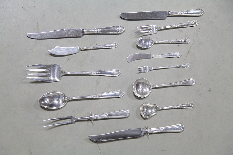SET OF ALVIN STERLING SILVER FLATWARE.