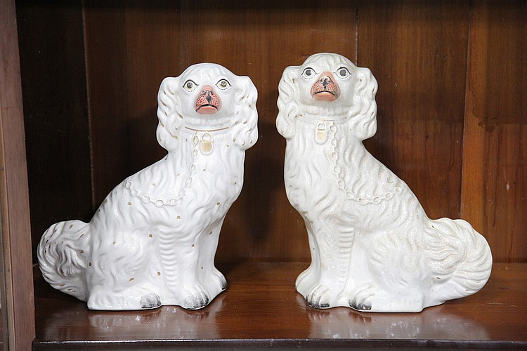 TWO STAFFORDSHIRE DOGS.