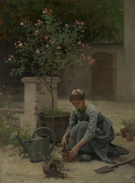 Edouard Debat-Ponsan (French, 1847-1913) Potting Flowers, 1891, Oil on canvas,
