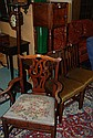 A George III mahogany armchair, d-end side table,