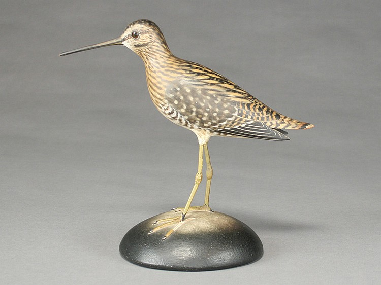 Very rare full size common snipe mantle carving, Elmer Crowell, East Harwich, Massachusetts.