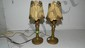 2 piece matching 1920'S small table lamps with original shades 9one as seen, minor loss)