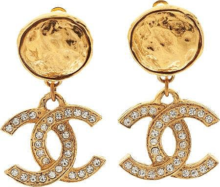 Chanel 1983 Diamante Logo Earrings
