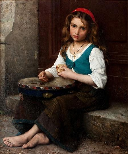 ALFRED GUILLOU (French, 1844-1926) Peasant Girl  Oil on
