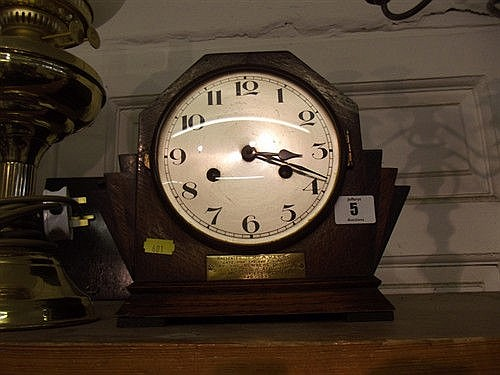 ART DECO OAK PARQUETRY MANTLE CLOCK, COILED BAR