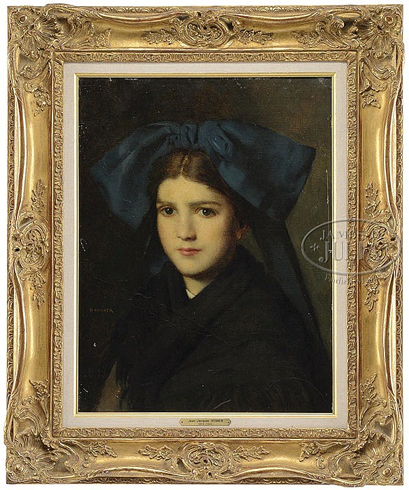 JEAN JACQUES HENNER (French, 1829-1905) PORTRAIT OF A GIRL WITH BLUE HEAD SCARF