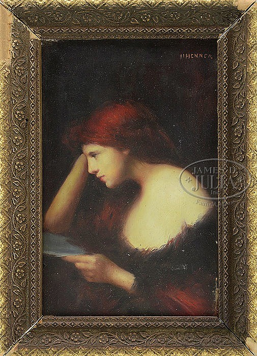 JEAN JACQUES HENNER (French, 1829-1905) RED HAIRED GIRL READING