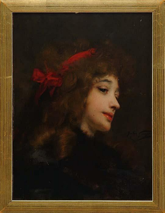 JULES ADOLPHE GOUPIL (French, 1839-1883) GIRL WITH RED RIBBON