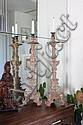 PAIR OF CARVED WOODEN ALTAR CANDLESTICKS