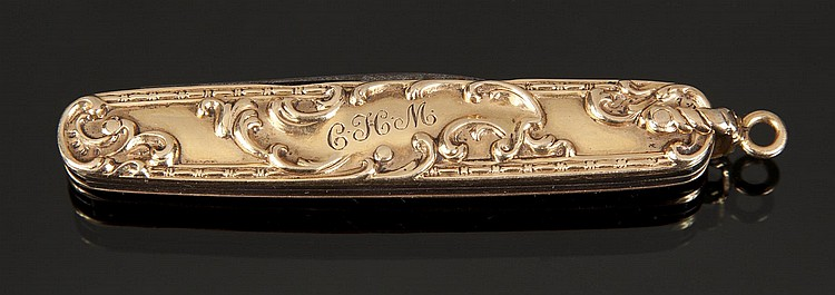 GRETA GARBO ANTIQUE GOLD POCKET KNIFE