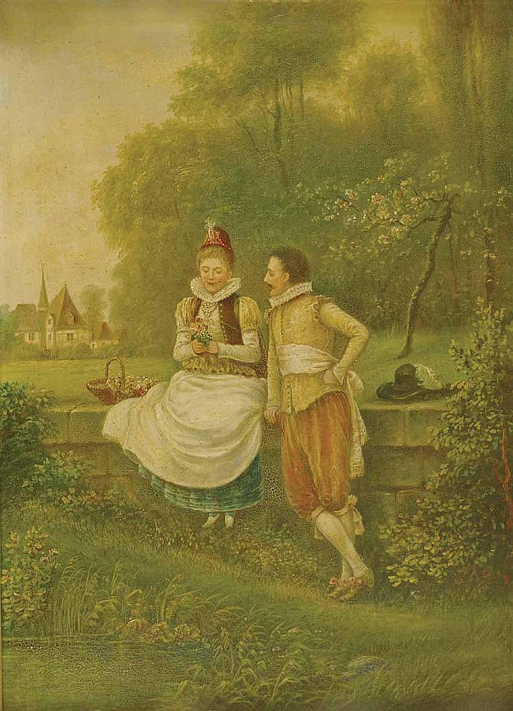 Goethe und Friederike zu Sesenheim - Ölgemälde von Fritz Reiss