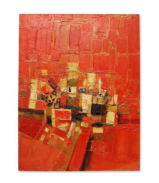 DAVID P. ADICKES, (American-Texan, b. 1927), Untitled (Abstract Red), Oil on board, 36 x 24 ½ inches