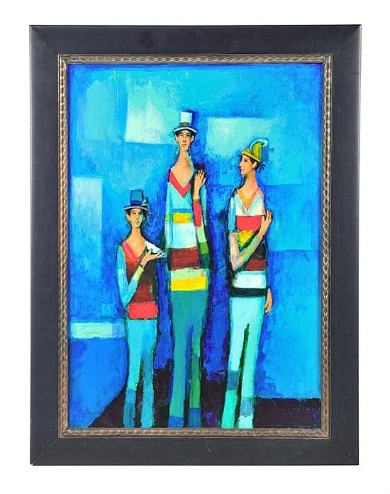 DAVID ADICKES, b. 1927, THREE FRIENDS, AGAINST BLUE, Oil on board, 31 1/2 x 22 inches (80 x 55.9 cm)