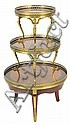 20TH CENTURY THREE TIER MAHOGANY WALNUT AND BRASS GALLERY CIRCULAR DUMB WAITER WITH CAST BRASS FEET