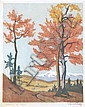 CARL ROTKY (AUSTRIAN, 1891-1977) Autumn in Sytria (Austria) woodblock