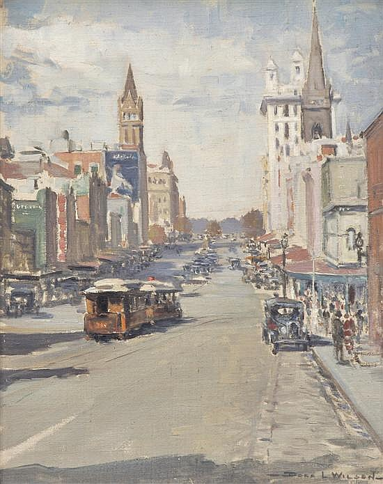 DORA L. WILSON (1883-1946) Russell Street oil on canvas on board