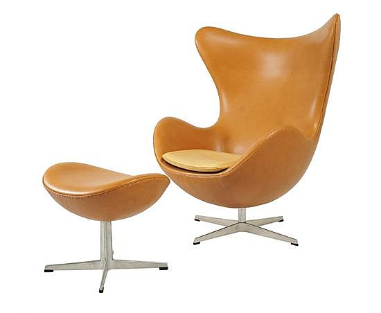 ARNE JACOBSEN (1902-1971)AN EGG CHAIR AND OTTOMAN, DESIGNED 1958