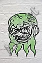 TIM DE HAAN (PHIBS) Untitled (Green Octopus Head) 2004 enamel spray on paper photocopy, shaped cut out paste-up a/p 42 x 29cms