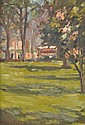 CLEWIN HARCOURT (1870-1965) Park Scene oil on canvas on board