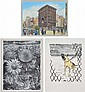 A GROUP OF THREE ASSORTED 20TH CENTURY ARTWORKS INCLUDING i) GEORGE TUTE, SUNFLOWER FIELD CIRCA 1980, WOOD ENGRAVING 32/75, 40 X 30C...