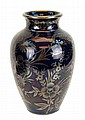 Asian Sterling Overlay Cobalt Vase